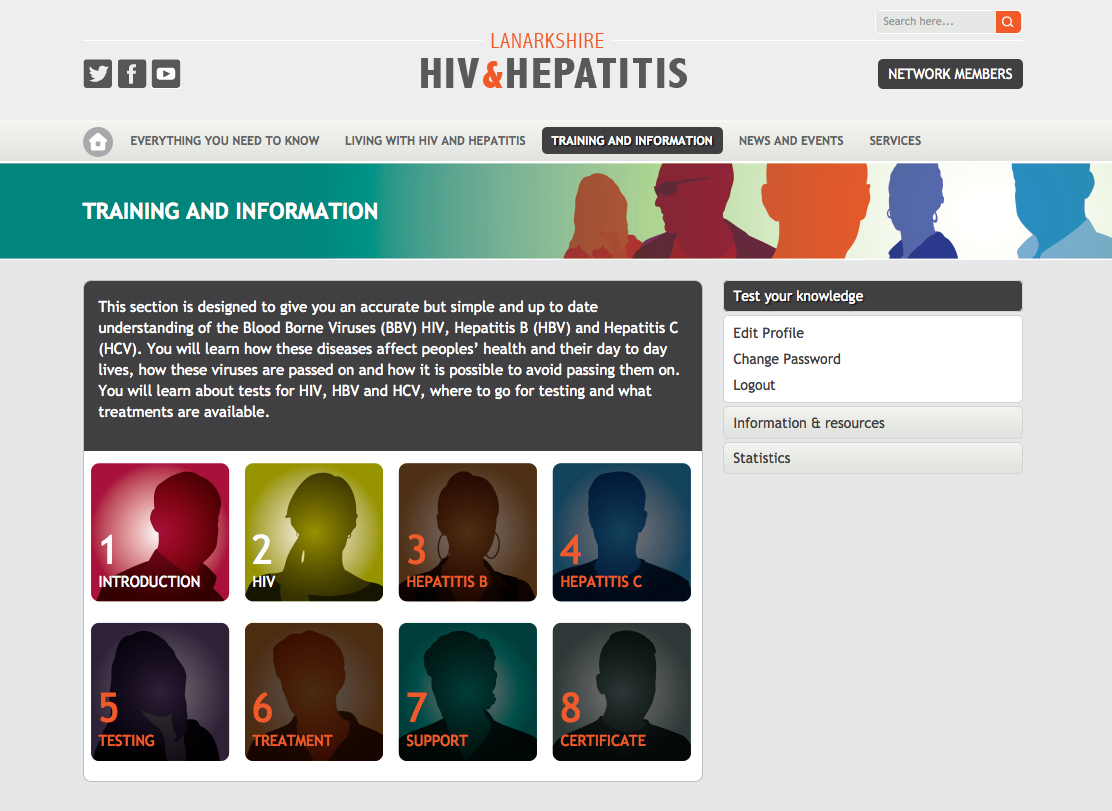Training and Information page of Lanarkshire HIV and Hepatitis website
