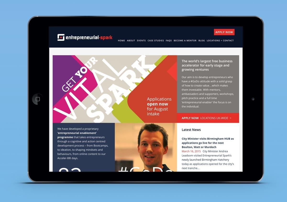 Entrepreneurial Spark website display on a tablet
