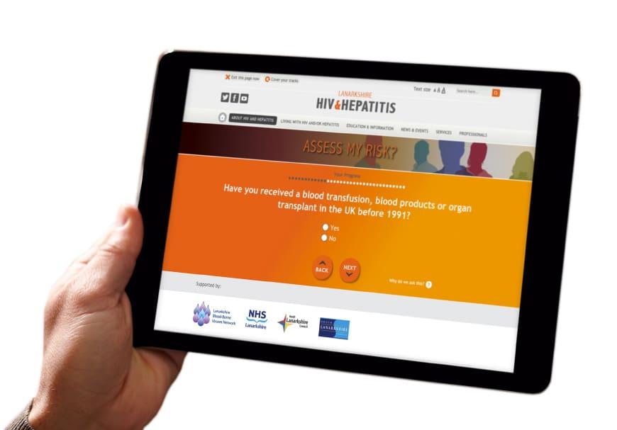 NHS Lanarkshire website on a tablet