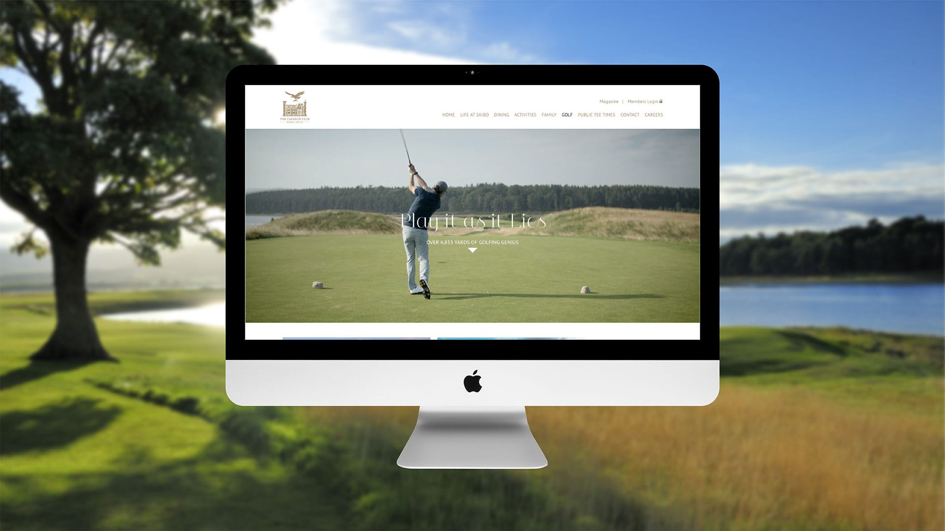 Apple desktop showing golfer on the course at Skibo