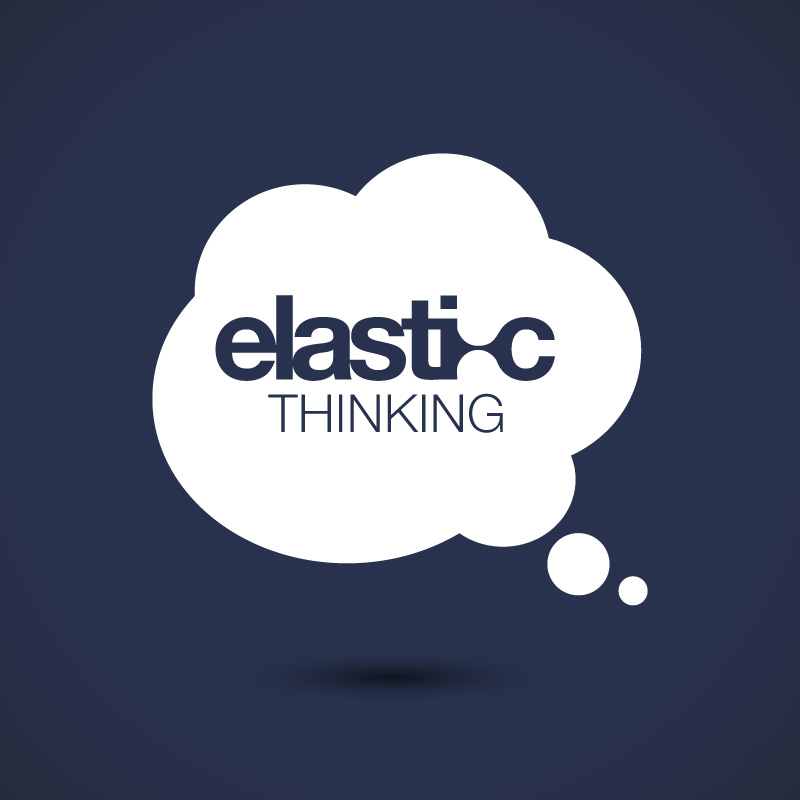 Elastic Thinking thought bubble black background