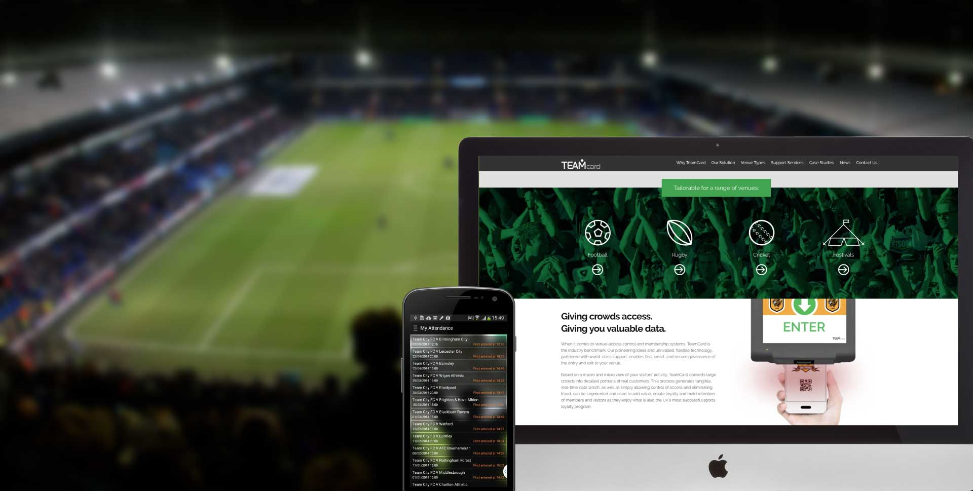TeamCard website shown at football pitch