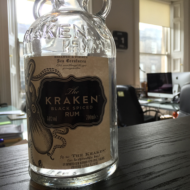 Empty bottle of Kraken Rum