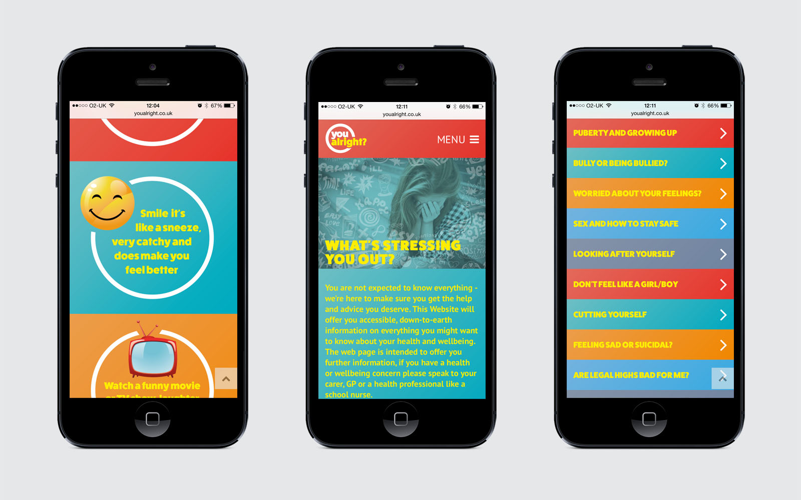 NHS Youalright website displayed on iPhone