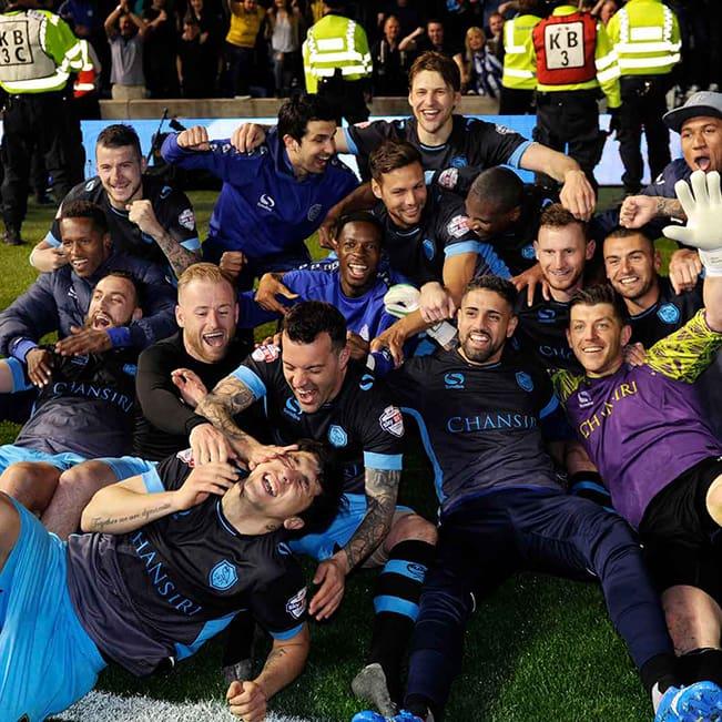 Sheffield Wednesday celebrating a win