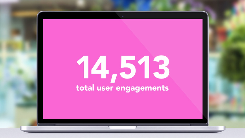 Number of engagements displayed on laptop