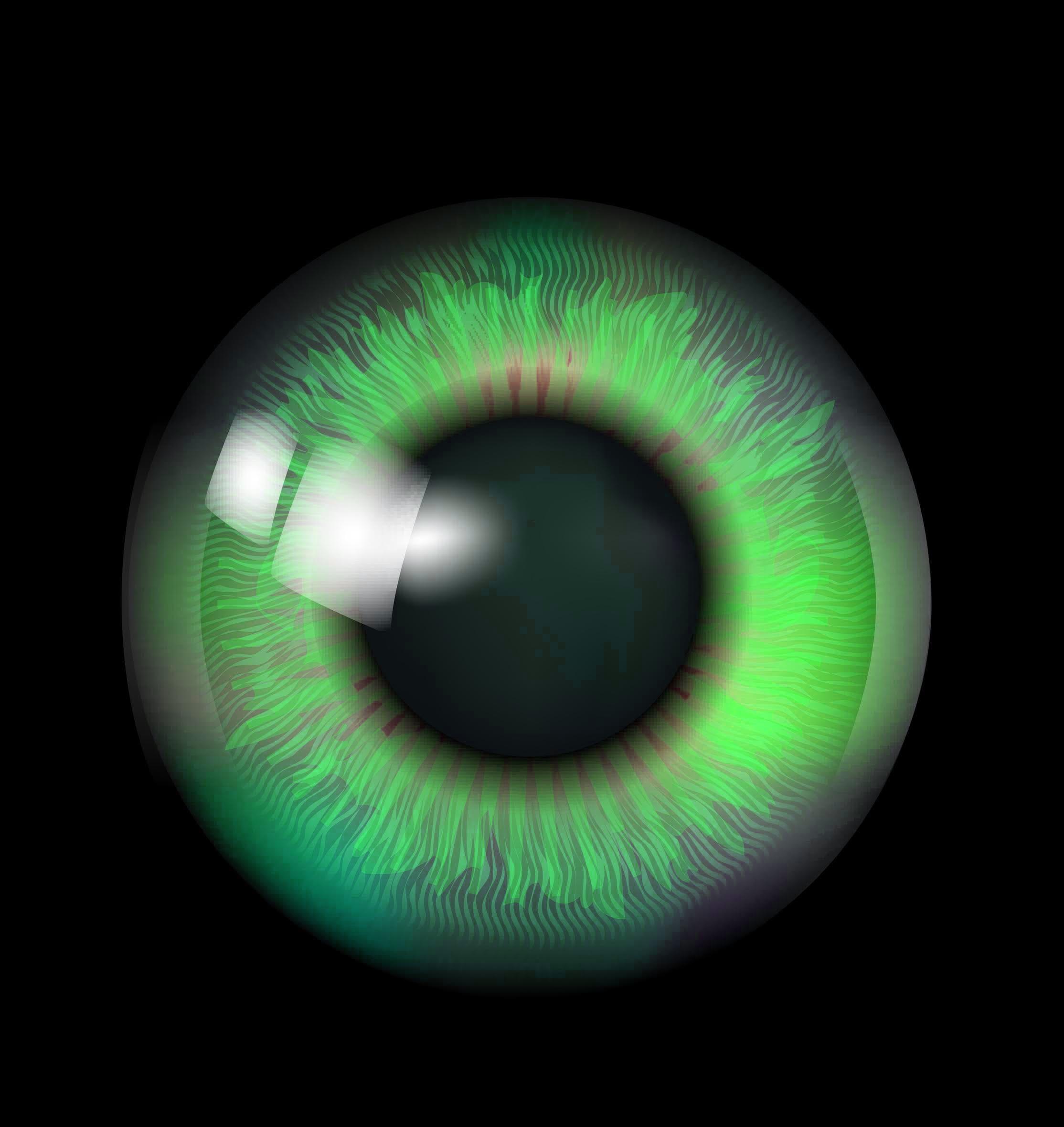 A large green eye