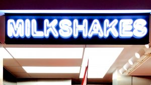 Milkshakes sign at Five Guy's in Edinburgh