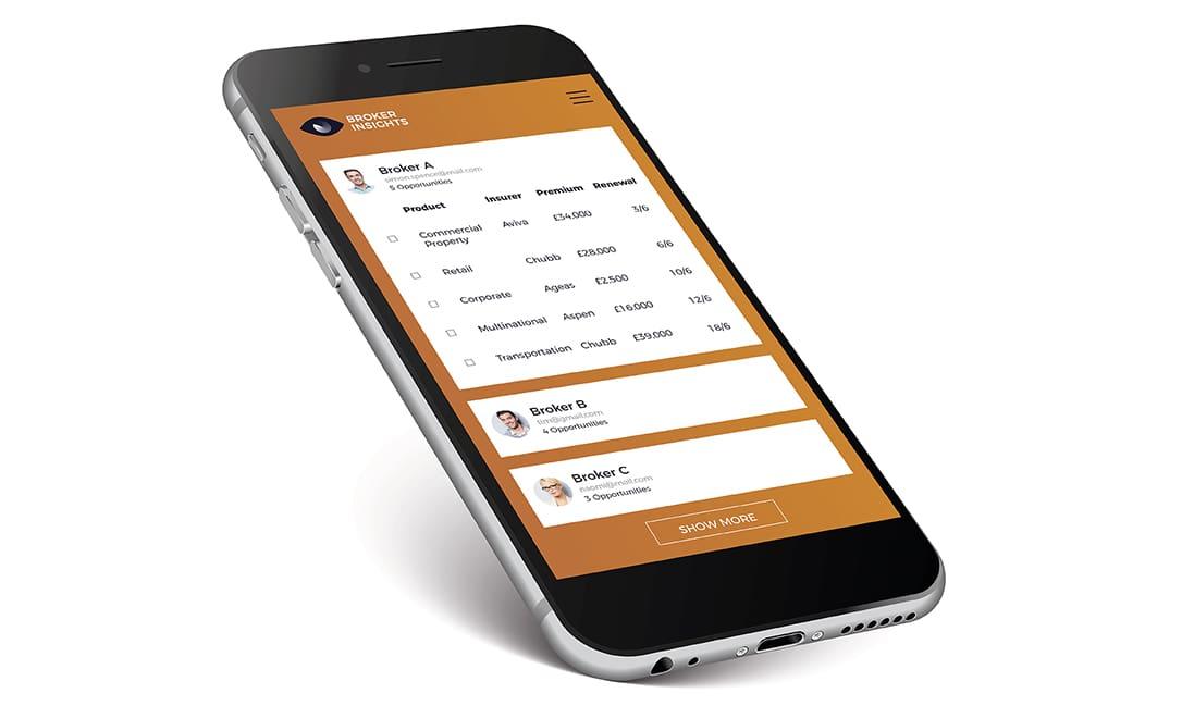 Broker Insights software on mobile