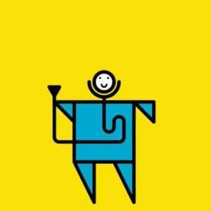 Cartoon image of man holding stethoscope