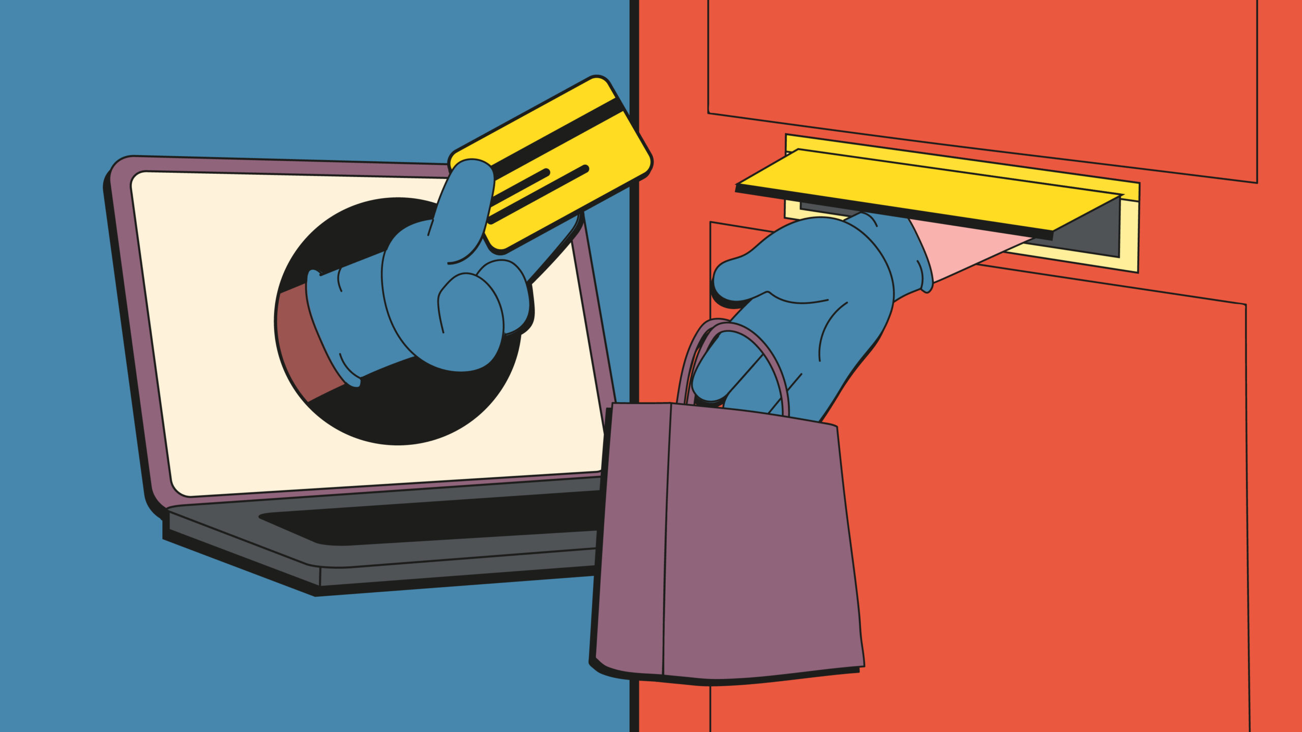Illustration of hands in gloves exchanging items at a door.